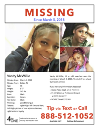 Vanity McWillie Missing Poster